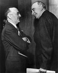 Assistant Secretary, U.S. Treasury, Harry Dexter White (left) and John Maynard Keynes, honorary advisor to the U.K. Treasury at the inaugural meeting of the International Monetary Fund's Board of Governors in Savannah, Georgia, U.S., March 8, 1946.